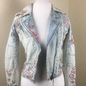 Blank NYC Floral Studded Denim Jacket
